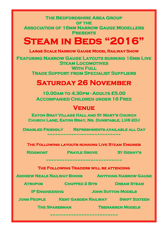 Steam in Beds 2016 Flyer